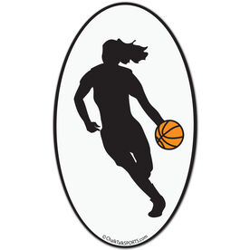 Basketball Girl Oval Car Magnet (Black)