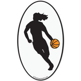 Basketball Girl Oval Car Magnet (Black)