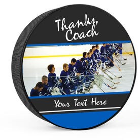 Personalized Thanks Coach with Photo (Wide) Hockey Puck