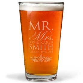 Personalized 16 oz. Beer Pint Glass - Our Wedding Day Cheers