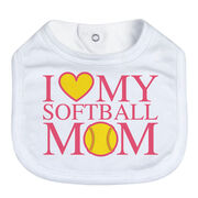 Softball Baby Bib - I Love My Softball Mom