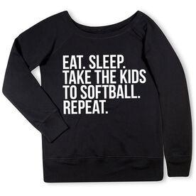 Softball Fleece Wide Neck Sweatshirt - Eat Sleep Take The Kids To Softball