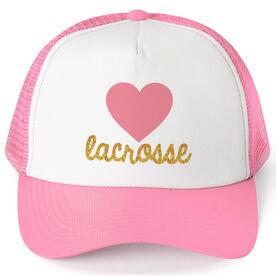 Girls Lacrosse Trucker Hat Heart with Gold Glitter