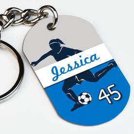 Soccer Printed Dog Tag Keychain Personalized Soccer Girl Name and Number