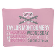 Skiing Baby Blanket - Birth Announcement