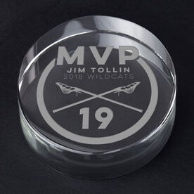 Guys Lacrosse Personalized Engraved Crystal Gift - MVP Award