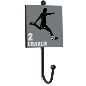 Soccer Medal Hook - Male Player Silhouette