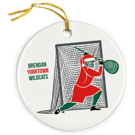 Lacrosse Porcelain Ornament Santa Goalie