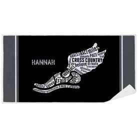 Cross Country Premium Beach Towel - Inspirational Words Winged Foot