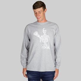 Guys Lacrosse Long Sleeve T-Shirt - Skeleton (White)