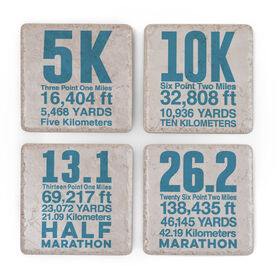 Personalized Stone Coaster Set of Four - Race Distances