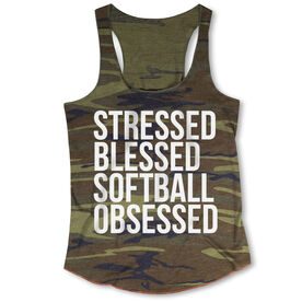 Softball Camouflage Racerback Tank Top - Stressed Blessed Softball Obsessed