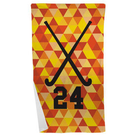 Field Hockey Beach Towel Personalized Sticks Color Triangles