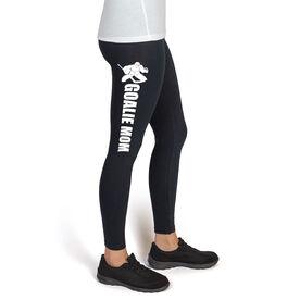 Hockey High Print Leggings Goalie Mom with Silhouette