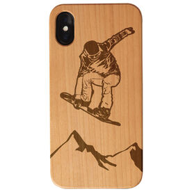 Snowboarding Engraved Wood IPhone® Case - Snowboarder Above The Mountains