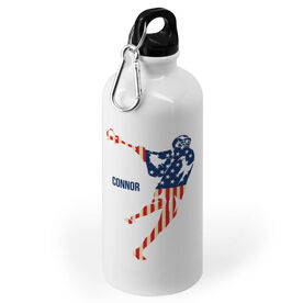 Guys Lacrosse 20 oz. Stainless Steel Water Bottle - American Flag Silhouette