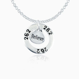 Sterling Silver 26.2 Marathon Message Ring and Sterling Silver Oval Believe Charm Necklace