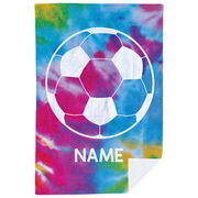 Soccer Premium Blanket - Personalized Tie-Dye with Ball