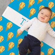 Softball Baby Blanket - Softball Ice Cream Cones
