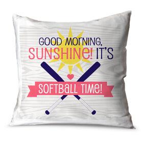 Softball Throw Pillow Good Morning Sunshine It's Softball Time