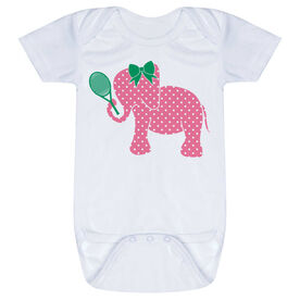 Tennis Baby One-Piece - Tennis Elephant with Bow