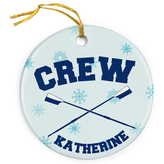 Crew Porcelain Ornament Crew Oars With Snowflakes