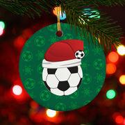 Soccer Porcelain Ornament Santa Hat