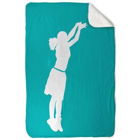 Basketball Sherpa Fleece Blanket - Girl Silhouette