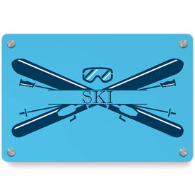 Skiing Metal Wall Art Panel - Crest