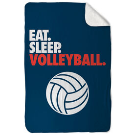Volleyball Sherpa Fleece Blanket - Eat. Sleep. Volleyball. Vertical