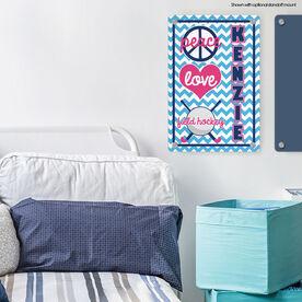 """Field Hockey 18"""" X 12"""" Aluminum Room Sign Personalized Peace Love Field Hockey Chevron"""