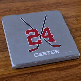 Hockey Stone Coaster Personalized Hockey Crossed Sticks