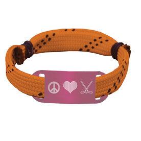 Hockey Lace Bracelet Peace Love Hockey Adjustable Wrister Bracelet