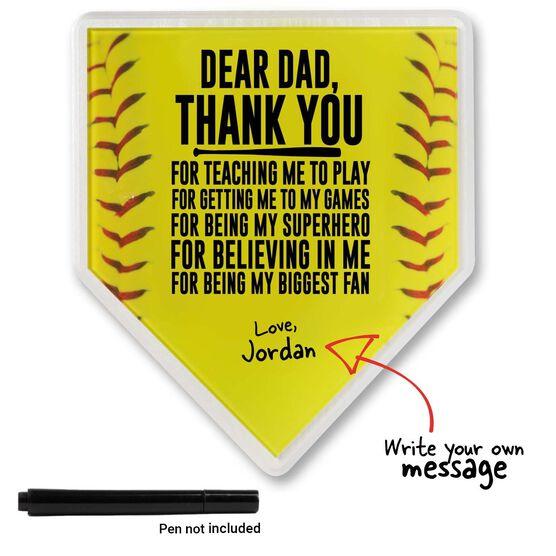 Premier Wooden Softball Home Plate Plaque - Dear Dad