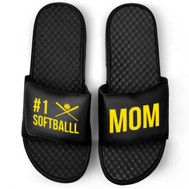 Softball Black Slide Sandals - #1 Softball Mom