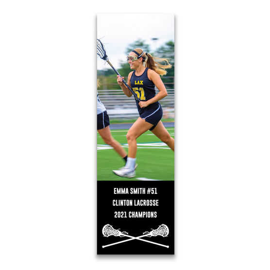 """Girls Lacrosse 12.5"""" X 4"""" Removable Wall Tile - Personalized Photo"""
