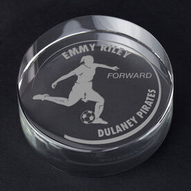 Soccer Personalized Engraved Crystal Gift - Customized Player (Female)