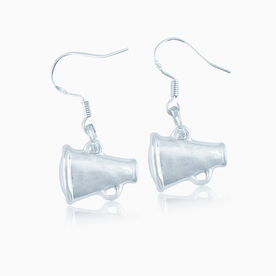 Silver Cheer Megaphone Earrings