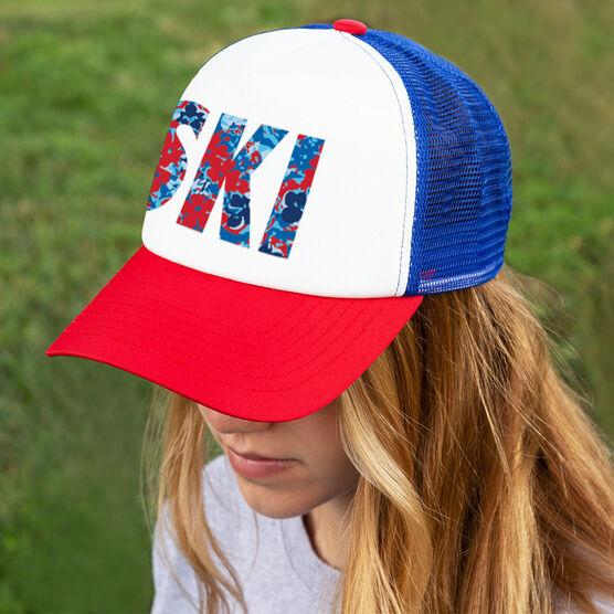 Skiing Trucker Hat - Floral Ski