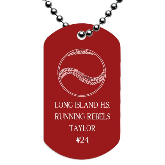 Engraved Personalized Baseball Dog Tag Necklaces