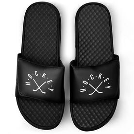Hockey Black Slide Sandals - Hockey With Crossed Sticks