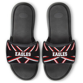 Cheerleading Repwell™ Slide Sandals - Cheer Stripes With Text