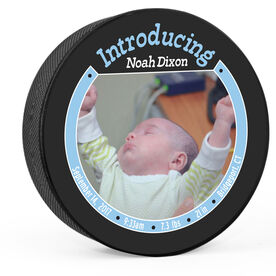 Personalized Baby Boy Introduction Hockey Puck