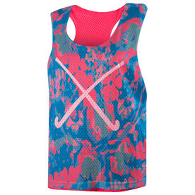 Field Hockey Racerback Pinnie - Floral with Crossed Sticks