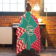 Cheerleading Premium Blanket - Monogram Bow with Chevron and Dots