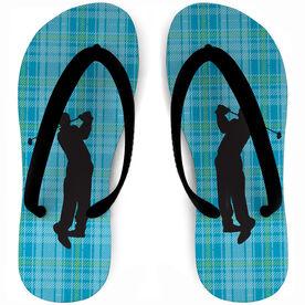 Golf Flip Flops Neon Plaid