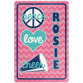 "Cheerleading 18"" X 12"" Aluminum Room Sign Personalized Peace Love Cheer Chevron"