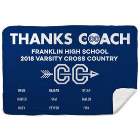 Cross Country Sherpa Fleece Blanket - Thanks Coach (Horizontal)