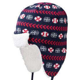 Baseball Sherpa Trapper Hat - Snowflake