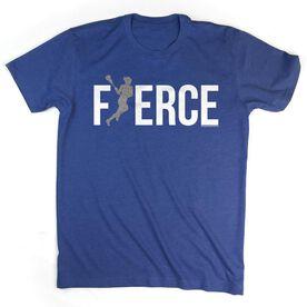 Lacrosse Tshirt Short Sleeve Fierce Lacrosse Girl with Silver Glitter